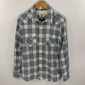 Vans Lightweight Plaid Snap Front Shirt, Size L